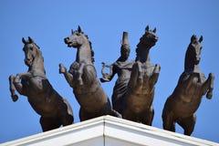 Quadriga on the top of the New Opera in Astana Stock Photos