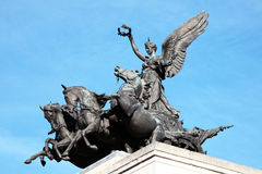 Quadriga, Wellington Arch. Quadriga placed upon Wellington Arch (Constitution Arch) 1826-1830, replaced a figure of Wellington in 1912 and depicts the angel of Royalty Free Stock Photo