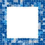 Quadro abstrato com bordas irregulares ásperas Quadro da foto em máscaras diferentes de azul e de cinzento Imagens de Stock