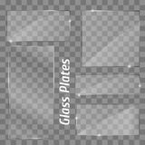 Quadro ajustado das placas do vidro Isolado no fundo transparente Imagens de Stock
