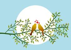 Quadro alusivo ao tema do dia de Valentim com o simbolismo de dois pássaros no ramo de árvore Ilustração ilustração royalty free