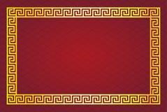 Quadro amarelo chinês no projeto abstrato vermelho do fundo Imagem de Stock
