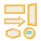 Quadro amarelo retro Sinais do vintage Fotos de Stock Royalty Free