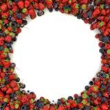 Quadro angular de morangos suculentas, maduras, mirtilos ilustração royalty free