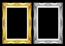 Quadro antigo do cinza e do ouro isolado no fundo preto Foto de Stock Royalty Free