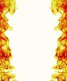 Quadro ardente da chama do fogo no fundo branco Fotografia de Stock