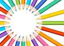 Quadro arredondado com os lápis coloridos no fundo branco ilustração stock