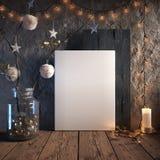 Quadro ascendente trocista do cartaz no fundo interior acolhedor, decoração do Natal imagem de stock