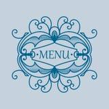 Quadro azul do vintage com elementos vegetais Imagens de Stock Royalty Free