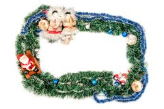 Quadro azul verde com bolas, Santa Claus e figuras do inha fotos de stock royalty free