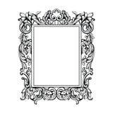 Quadro barroco imperial do espelho do vintage Ornamento intrincados ricos luxuosos franceses do vetor Decoração real vitoriano do Fotografia de Stock Royalty Free
