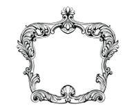 Quadro barroco imperial do espelho Vector ornamento e cristais intrincados ricos luxuosos franceses Decoração real vitoriano do e ilustração royalty free