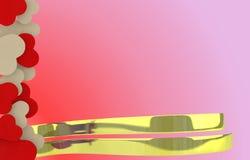 Quadro bege e vermelho dos corações do sabão Foto de Stock