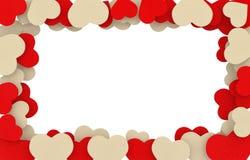 Quadro bege e vermelho dos corações do sabão Imagens de Stock Royalty Free