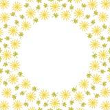 Quadro bonito da beira do círculo do fundo com flores e folhas ilustração royalty free