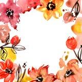 Quadro bonito da flor da aquarela Fundo floral pintado mão invitation Cartão de casamento Cartão de aniversário ilustração stock