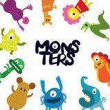 Quadro bonito dos personagens de banda desenhada dos monstro Imagem de Stock