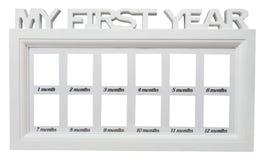 Quadro branco da foto do ` s do bebê meu primeiro ano no fundo isolado 12 grupo de doze meses Fotografia de Stock