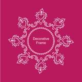 Quadro branco decorativo com corações no fundo cor-de-rosa Foto de Stock