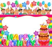 Quadro brilhante do aniversário com bolo e as crianças bonitos Imagem de Stock Royalty Free