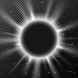 Quadro brilhante elegante do círculo com partículas de poeira de brilho no fundo transparente Foto de Stock