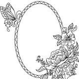 Quadro BW da peônia e da borboleta Fotografia de Stock Royalty Free