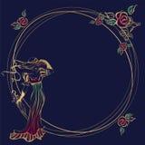 Quadro, cartão Mulher bonita No chapéu, com guarda-chuvas Frame redondo ouro Flores Vetor ilustração stock