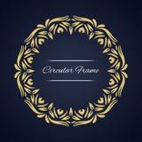 Quadro circular do vetor Molde do cartão com ornamento Fotos de Stock Royalty Free