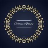 Quadro circular do vetor Molde do cartão com ornamento Imagens de Stock Royalty Free