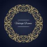 Quadro circular do vetor Molde do cartão com ornamento Imagem de Stock Royalty Free