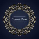 Quadro circular do vetor Molde do cartão com ornamento Fotografia de Stock Royalty Free