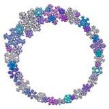 Quadro circular feito de flocos de neve diferentes Foto de Stock Royalty Free