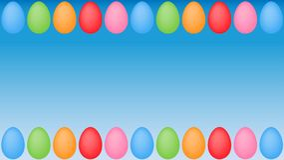 Quadro colorido dos ovos da páscoa no fundo de superfície azul ilustração do vetor
