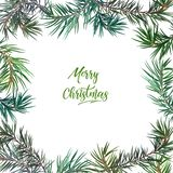 Quadro com árvore de abeto Feliz Natal fotografia de stock royalty free