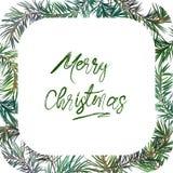 Quadro com árvore de abeto Feliz Natal imagem de stock