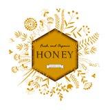 Quadro com abelhas e flores Fotos de Stock Royalty Free