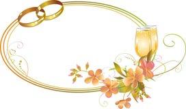 Quadro com anéis de casamento Imagens de Stock Royalty Free