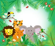 Quadro com animais e as folhas africanos Cor brilhante Ilustração do vetor ilustração do vetor