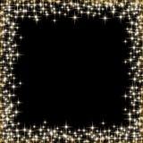 Quadro com as estrelas douradas no fundo preto, símbolos dourados dos sparkles - star o brilho, alargamento estelar Fotos de Stock Royalty Free