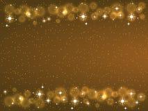 Quadro com as estrelas no fundo escuro, símbolos dourados dos sparkles - star o brilho, alargamento estelar Imagem de Stock