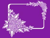 Quadro com as flores abstratas no fundo do lilac Foto de Stock