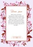 Quadro com as flores da árvore de cereja ilustração stock