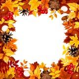 Quadro com as folhas coloridas do outono Ilustração do vetor Imagens de Stock Royalty Free