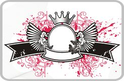 Quadro com bandeira e coroa Foto de Stock Royalty Free