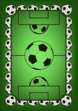 Quadro com bolas de futebol Imagem de Stock Royalty Free