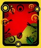 Quadro com círculos e insetos Foto de Stock Royalty Free