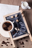 Quadro com café e açúcar fotografia de stock
