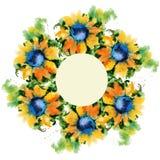 Quadro com cartão de sunflowers Projeto do feriado watercolor Fotos de Stock Royalty Free