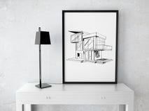 Quadro com casa do desenho Fotografia de Stock