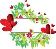 Quadro com coração e flor Foto de Stock